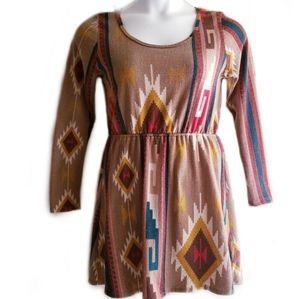 Francesca's Longsleeve Tribal Print Sweater Dress